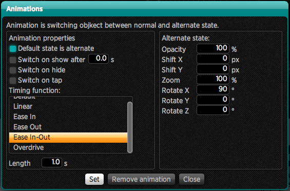 Animation setting window