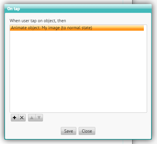 Dialog with action settings