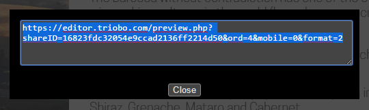 Dialog with address for preview sharing