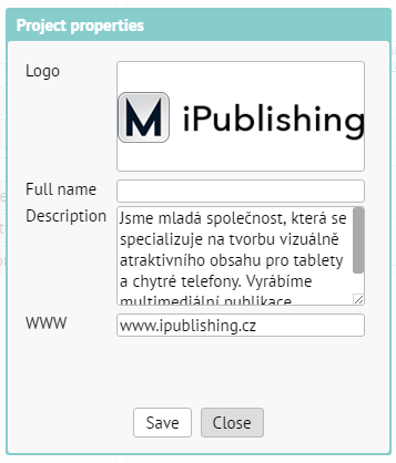 Publisher settings