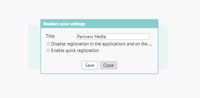 Readers zone settings