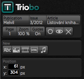 upper menu part of Triobo editor