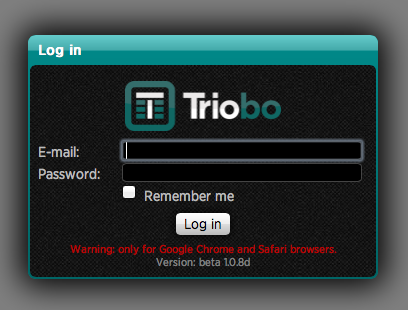 Triobo editor login window
