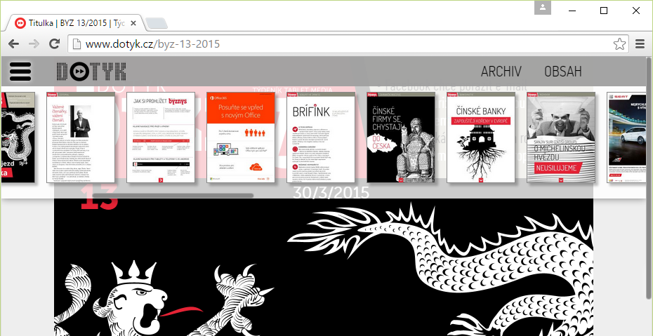 Menu interactive publications on the Web